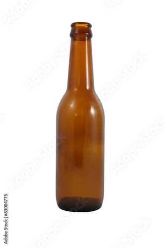 Side brown bottle on white background.