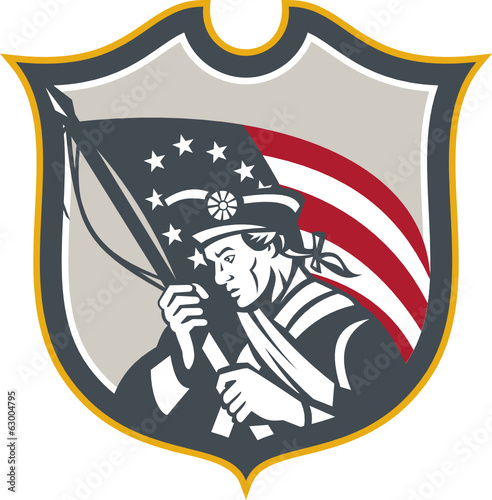 Patriot Holding American Flag Shield Retro