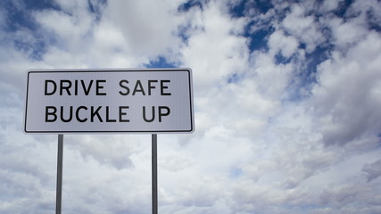 Sign Drive Safe Buckle Up Clouds Timelapse