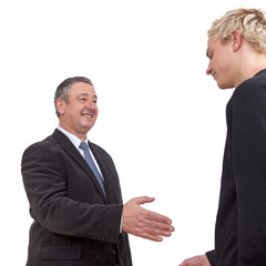 Businessman at the welcome of a Young Man