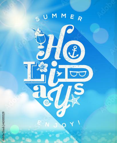 Summer holidays type design against a sunny seascape