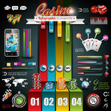 Vector Casino infographic set with world map