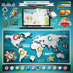 Vector summer travel infographic set with world map