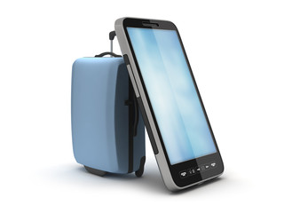 Luggage and smartphone on white background