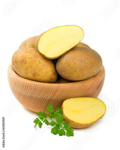 ripe potatoes isolated on white