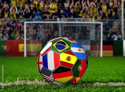 Soccer Ball with Flags and Goal Facing Crowds