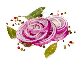 red onion slices isolated on white