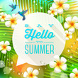 Summer greeting and hummingbirds in tropical nature