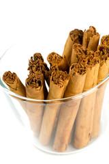 ceylon cinnamon sticks in a glass bowl