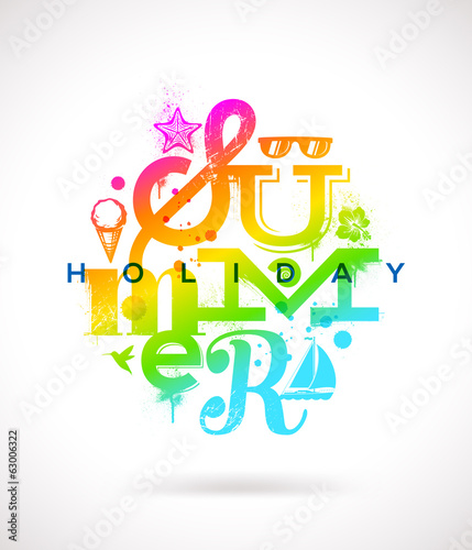 Summer holidays multicolored type design