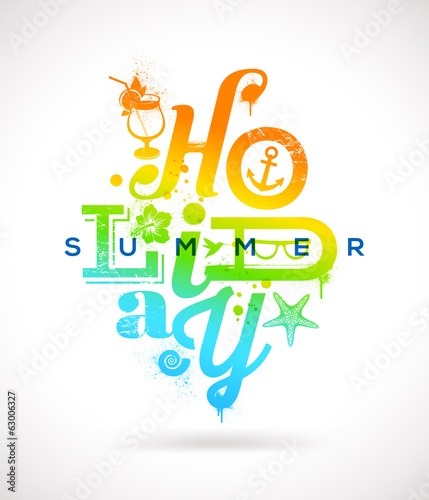 Summer holidays multicolored type design