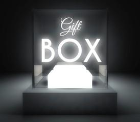Gift box glass showcase for exhibit