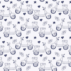 Doodle scooter seamless background