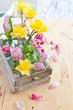 canvas print picture - Frische Blumen in kleinen Flaschen