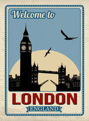 Big ben tower from London retro poster