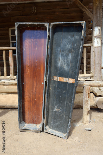 Coffin in wild west town