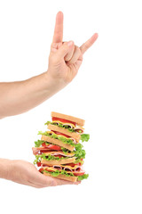 fingers rock with big sandwich