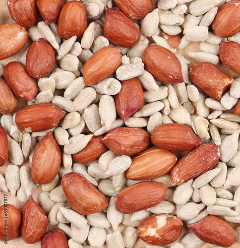 sunflower seeds and peanuts background