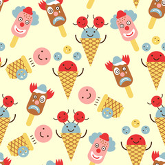 Ice cream circus seamless background