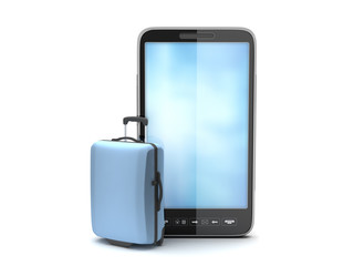 Travel bag and mobile phone on white background