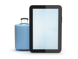 Suitcase and tablet computer on white background