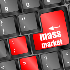 Marketing concept: computer keyboard keys with word Mass Market