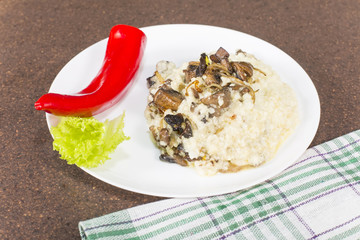 Millet porridge with mushrooms