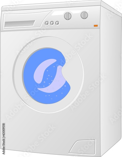 A washing machine in operation