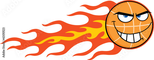 Flaming Basketball Cartoon Character
