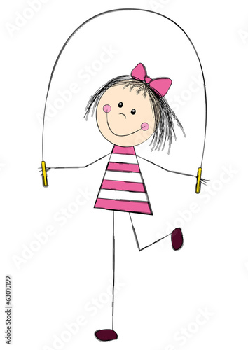 Cute little girl with skipping rope