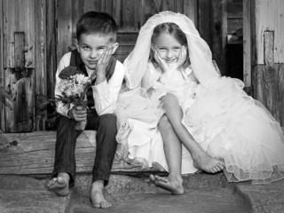 Children Love Couple Black And White