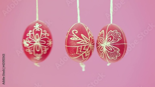 Eastern handmade eggs hanging on rope
