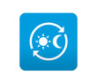 Etiqueta tipo app azul simbolo 24h