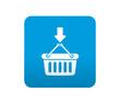 Etiqueta tipo app azul simbolo añadir a a la cesta