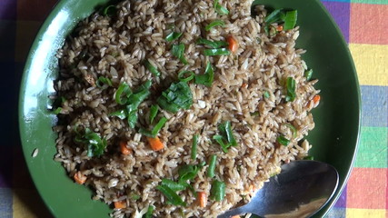 hot fried rice with vegetables in Katmandu restaurant, Nepal