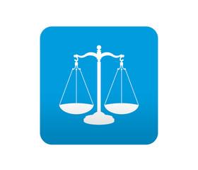 Etiqueta tipo app azul simbolo justicia