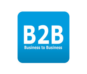 Etiqueta tipo app azul simbolo B2B