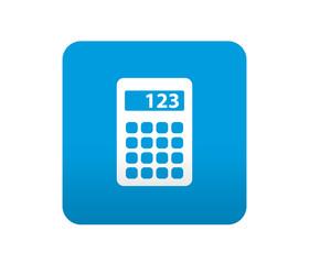 Etiqueta tipo app azul simbolo calculadora
