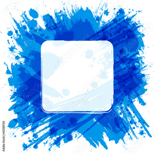 Vector square frame. Blue abstract background with splashes and