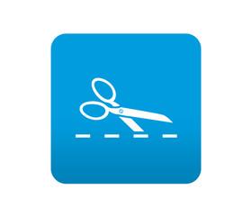Etiqueta tipo app azul simbolo recortar linea de puntos