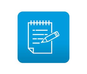 Etiqueta tipo app azul simbolo bloc de notas