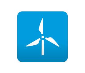 Etiqueta tipo app azul simbolo molino de viento