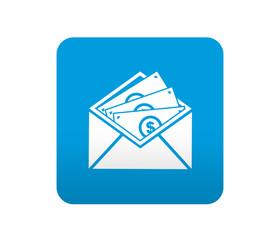 Etiqueta tipo app azul simbolo envio de dinero
