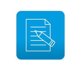 Etiqueta tipo app azul simbolo editar documento