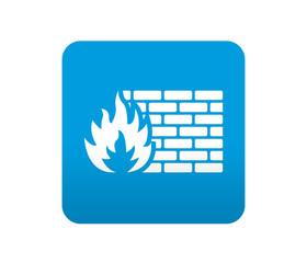 Etiqueta tipo app azul simbolo cortafuegos