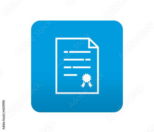 Etiqueta tipo app azul simbolo certificacion