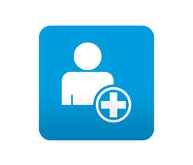 Etiqueta tipo app azul simbolo añadir usuario
