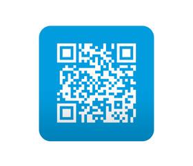 Etiqueta tipo app azul simbolo codigo QR