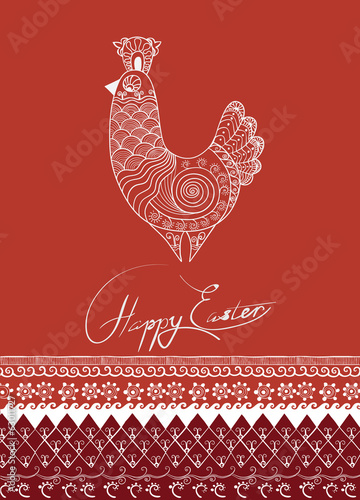 rich ornated  ethnic decor Easter rooster or hen card's design