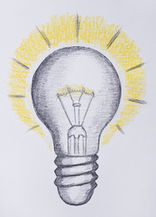 Light bulb drawing, idea concept